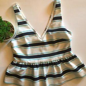 Zara Striped Peplum Sleeveless Top